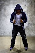 picture of break-dance  - young black male dancing hip hop style in an urban setting - JPG