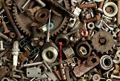 stock photo of scrap-iron  - Pile of metal scrap for recycle background - JPG