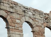 foto of arena  - detail of Roman arches in the Arena in Verona City Italy - JPG