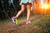 image of girl walking away  - Youths sporty woman walking in the woods - JPG