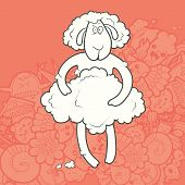 stock photo of kawaii  - Vector Illustration Cute Hand Drawn shaved lamb holding its coat - JPG