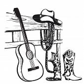 picture of cowboys  - Western country music poster with cowboy clothes and music guitar background for text - JPG