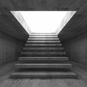 image of stairway  - Abstract empty dark concrete 3d illustration interior background with stairway going up and out front view - JPG