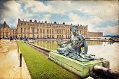 picture of versaille  - Royal Garden in the Versailles Castle in vintage style Paris France Unesco - JPG