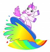 foto of unicorn  - Unicorn soldier shooting from a rainbow cannon - JPG