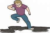image of slip hazard  - Cartoon illustration of man slipping on oil slick over white - JPG