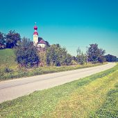 foto of bavaria  - Church on the Hill in Bavaria Retro Effect - JPG