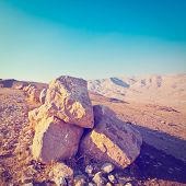 picture of samaria  - Big Stones in Sand Hills of Samaria Israel Retro Effect - JPG