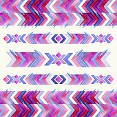 foto of american indian  - Navajo aztec textile inspiration watercolor pattern - JPG