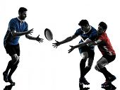 image of studio  - one caucasian rugby men players  in studio  silhouette isolated on white background - JPG