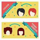 picture of ombre  - Vector flat Set Hair Salon Labels and Icons for price - JPG