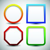 stock photo of octagon shape  - Basic shape vector elements with blank white space - JPG