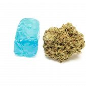 foto of weed  - Marijuana Bud and Weed Candy Containing THC - JPG