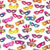 picture of pageant  - seamless pattern with carnival masks different forms and color stripes - JPG