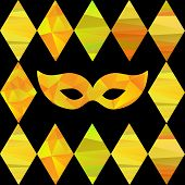 pic of pageant  - seamless pattern with colorfull rhombus  and carnival masks by different forms and color stripes - JPG