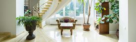 picture of mansion  - Vintage luxury mansion interior with spiral stairs panorama - JPG