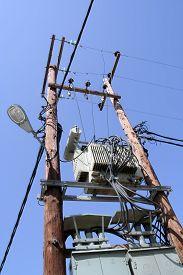 image of transformer  - Old electric power transformer - JPG