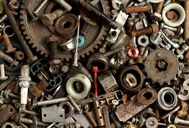 pic of scrap-iron  - Pile of metal scrap for recycle background - JPG