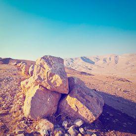 pic of samaria  - Big Stones in Sand Hills of Samaria Israel Retro Effect - JPG