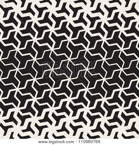 Vector Seamless Black And White  Geometric Triangle Shape Tessellation Halftone Line Grid Pattern