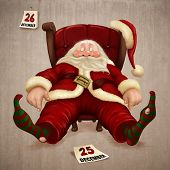stock photo of santa-claus  - Tired Santa Claus the day after Christmas - JPG