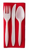 Plastic Cutlery On Red Serviette