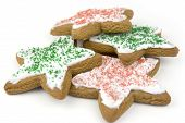 stock photo of christmas cookie  - star shaped isolated christmas sugar gingerbread cookies - JPG