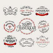 Happy Hanukkah Logotype, Badge And Icon Typography Set poster