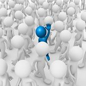 stock photo of overpopulation  - Computer generated image of a man waving inside a crowd - JPG