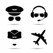 Постер, плакат: Stewardess pilot airplane vector icons