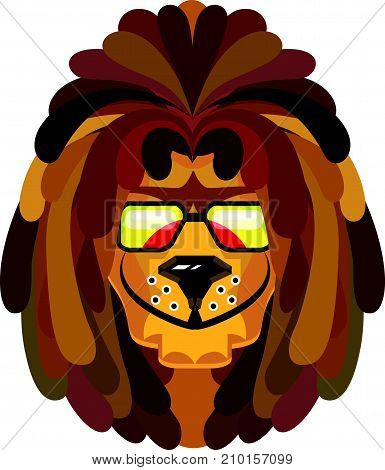 Rastafarian Lion Vector Illustration Clipart