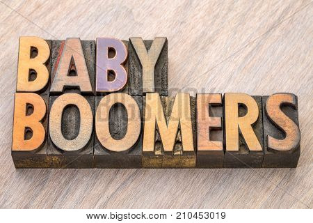 Baby boomers word abstract in