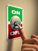 Постер, плакат: Палец нажатие на старый стиль металла переключатель Цифровые иллюстрации