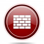 Firewall red glossy round web icon. Circle isolated internet button for webdesign and smartphone app poster