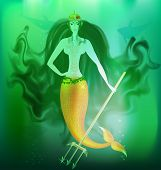 image of undine  - in the depths of the sea is a anger mermaid with a gold trident - JPG