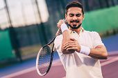 Man On Tennis Court poster