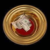image of stewardship  - Church offering plate with some currency in it - JPG