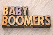 Baby boomers word abstract in vintage letterpress  wood type poster