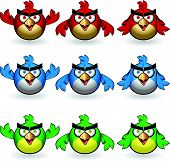 picture of angry bird  - Set of angry owl - JPG