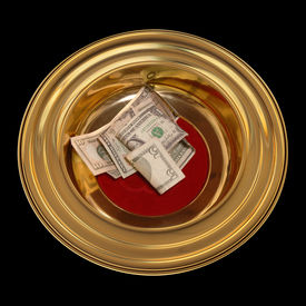 stock photo of stewardship  - Church offering plate with some currency in it - JPG