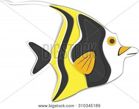 poster of Reef Fish In Paper Art Style. Colorful Exotic Aquarium Fauna Vector Illustration. Marine Ecosystem,