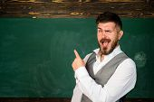 Male Teacher Over Green Chalkboard Background. School Student. Portrait Of College Student In Colleg poster
