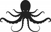 Flat Octopus Silhouette Isolated In Black And White. Symmetrical. poster