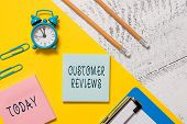 Word Writing Text Customer Reviews. Business Concept For Review Of Product Or Service Made By Client poster