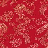 Oriental Dragon Flying In Clouds Seamless Pattern. Traditional Chinese Mythological Animal Hand Draw poster