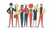 Flat Linear Geometric Illustration Of Group People For Business. Business People Hold Phone And Fold poster