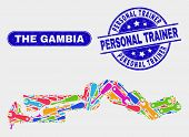 Production The Gambia Map And Blue Personal Trainer Scratched Seal. Colored Vector The Gambia Map Mo poster