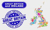 Component Great Britain And Ireland Map And Blue Great Britain Distress Seal Stamp. Colored Vector G poster