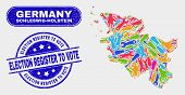 Production Schleswig-holstein Land Map And Blue Election Register To Vote Scratched Seal Stamp. Colo poster