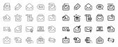 Mail Message Line Icons. Newsletter, Email Document, Correspondence Icons. Received Mail, Secure Mes poster